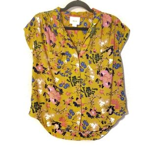 Anthro Maeve Yellow Floral Button up Blouse